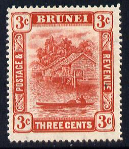Brunei 1908-22 River Scene MCA 3c scarlet mounted mint SG 37