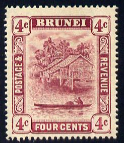 Brunei 1908-22 River Scene MCA 4c claret mounted mint SG 39