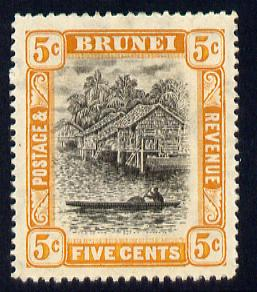 Brunei 1908-22 River Scene MCA 5c black & orange mounted mint SG 40