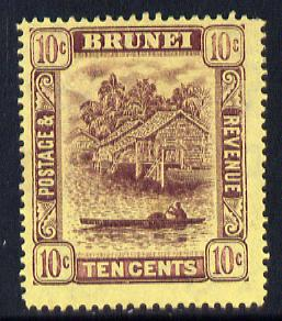 Brunei 1908-22 River Scene MCA 10c purple on yellow mounted mint SG 42/a