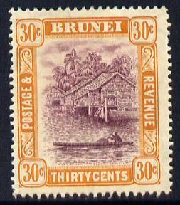 Brunei 1908-22 River Scene MCA 30c purple & orange-yellow mounted mint SG 44
