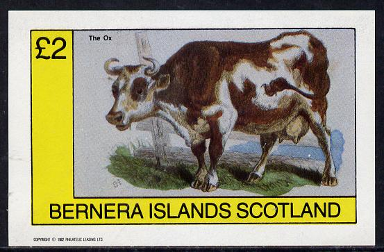 Bernera 1982 Animals (Ox) imperf deluxe sheet (�2 value) unmounted mint