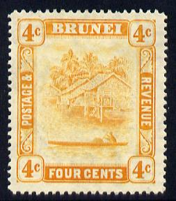 Brunei 1924-37 River Scene Script CA 4c orange mounted mint SG 65