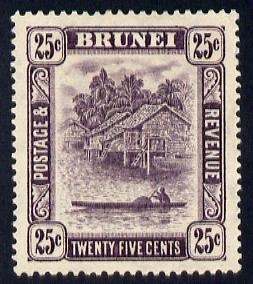 Brunei 1924-37 River Scene Script CA 25c slate-purple mounted mint SG 75
