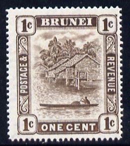 Brunei 1947-51 River Scene Script CA 1c chocolate mounted mint SG 79