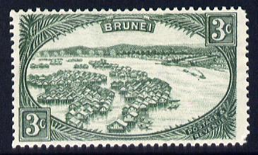 Brunei 1947-51 Water Village Script CA 3c green mounted mint SG 81