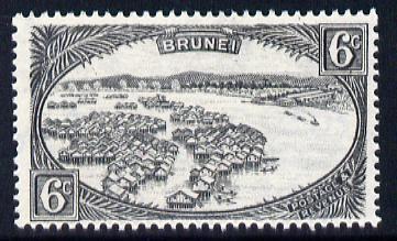 Brunei 1947-51 Water Village Script CA 6c black mounted mint SG 83