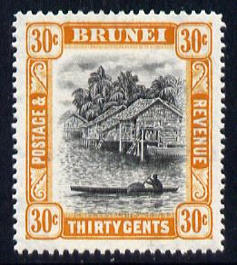 Brunei 1947-51 River Scene Script CA 30c black & orange mounted mint SG 88/a