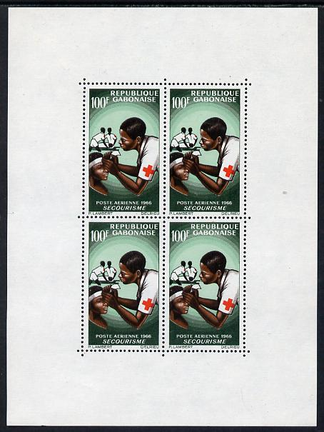 Gabon 1966 Red Cross perf m/sheet (4 x 100f) unmounted mint, SG MS252