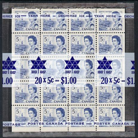 Canada 1967-73 def 5c blue (Harbour Scene) block of 20 in sealed pack unmounted mint SG 583b