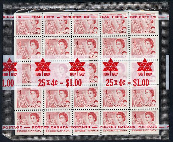 Canada 1967-73 def 4c red (Ship in Lock) block of 20 in sealed pack unmounted mint SG 582b