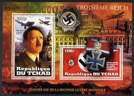 Chad 2012 Leaders of the Second World War - Adolf Hitler perf sheetlet containing 2 values unmounted mint