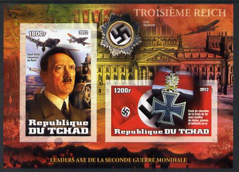 Chad 2012 Leaders of the Second World War - Adolf Hitler imperf sheetlet containing 2 values unmounted mint