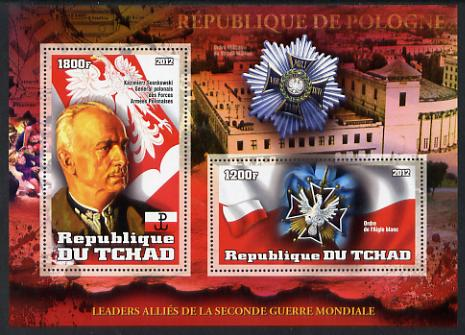 Chad 2012 Leaders of the Allies in Second World War - Sosnkowsli (Poland) perf sheetlet containing 2 values unmounted mint