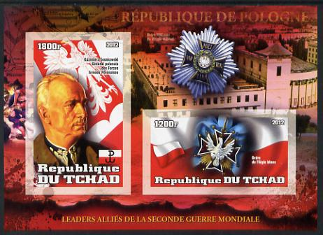Chad 2012 Leaders of the Allies in Second World War - Sosnkowsli (Poland) imperf sheetlet containing 2 values unmounted mint