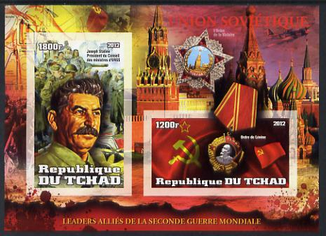 Chad 2012 Leaders of the Allies in Second World War - Joseph Stalin (Russia) imperf sheetlet containing 2 values unmounted mint