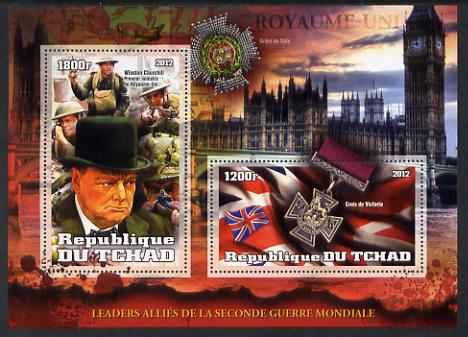 Chad 2012 Leaders of the Allies in Second World War - Winston Churchill (England) perf sheetlet containing 2 values unmounted mint
