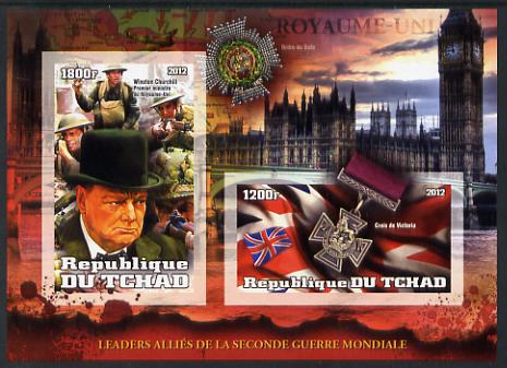 Chad 2012 Leaders of the Allies in Second World War - Winston Churchill (England) imperf sheetlet containing 2 values unmounted mint