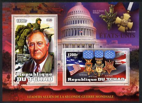 Chad 2012 Leaders of the Allies in Second World War - Franklin D Roosevelt (USA) perf sheetlet containing 2 values unmounted mint