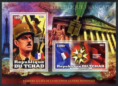 Chad 2012 Leaders of the Allies in Second World War - Charles de Gaulle (France) perf sheetlet containing 2 values unmounted mint