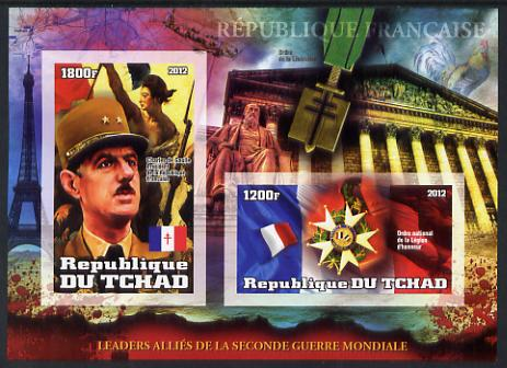 Chad 2012 Leaders of the Allies in Second World War - Charles de Gaulle (France) imperf sheetlet containing 2 values unmounted mint