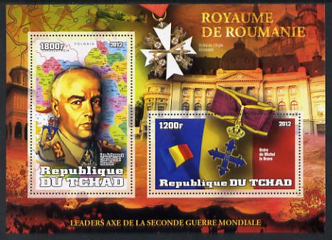 Chad 2012 Leaders of the Second World War - Lon Antonescu (Rumania) perf sheetlet containing 2 values unmounted mint