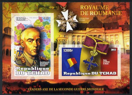 Chad 2012 Leaders of the Second World War - Lon Antonescu (Rumania) imperf sheetlet containing 2 values unmounted mint