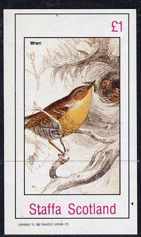 Staffa 1982 Birds #24 (Wren) imperf souvenir sheet (�1 value) unmounted mint