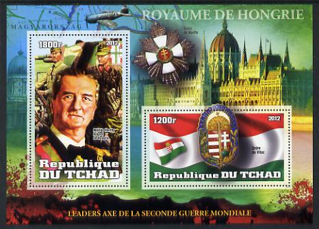 Chad 2012 Leaders of the Second World War - Miklos Horthy (Hungry) perf sheetlet containing 2 values unmounted mint