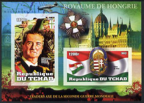 Chad 2012 Leaders of the Second World War - Miklos Horthy (Hungry) IMperf sheetlet containing 2 values unmounted mint