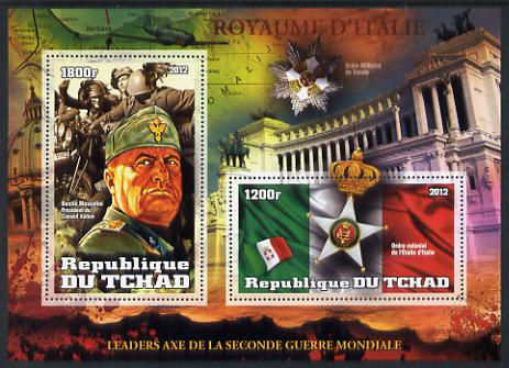 Chad 2012 Leaders of the Second World War - Benito Mussolini (Italy) perf sheetlet containing 2 values unmounted mint