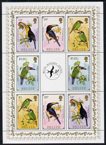 Belize 1986 Toucans - Audubon Society perf sheetlet containing 2 sets of 4 plus label unmounted mint SG 963, 965, 967 & 968