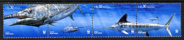 Portugal - Azores 2004 WWF - Atlantic Marlin perf strip of 4 unmounted mint SG 599-602