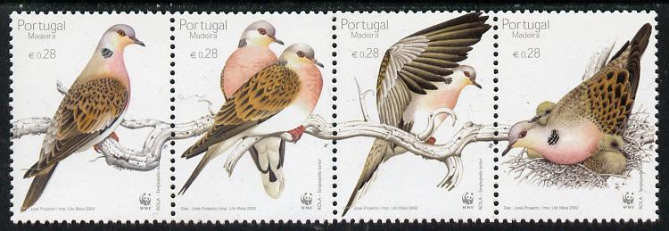 Portugal - Madeira 2002 WWF - Turtle Dove perf strip of 4 unmounted mint SG 349-52