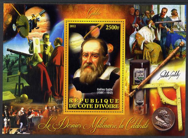 Ivory Coast 2012 Personalities of the Last Millennium #03 perf sheetlet containing 1 value unmounted mint (Galileo Galilei)