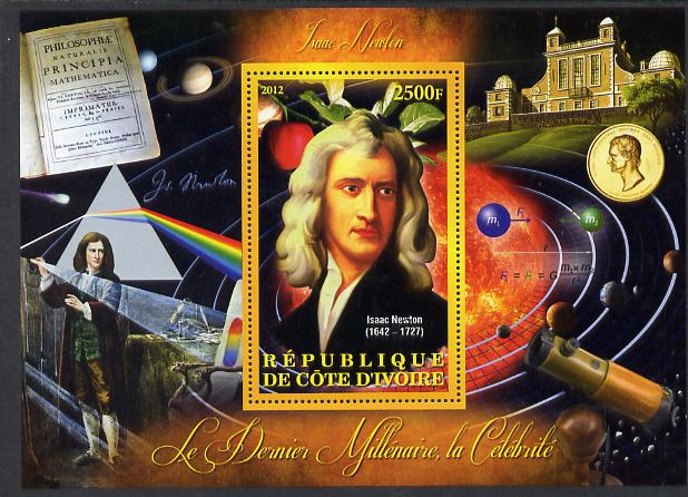 Ivory Coast 2012 Personalities of the Last Millennium #04 perf sheetlet containing 1 value unmounted mint (Isaac Newton)