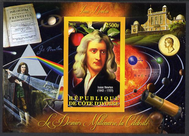 Ivory Coast 2012 Personalities of the Last Millennium #04 imperf sheetlet containing 1 value unmounted mint (Isaac Newton)