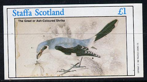 Staffa 1982 Ash Coloured Shrike imperf souvenir sheet (�1 value) unmounted mint