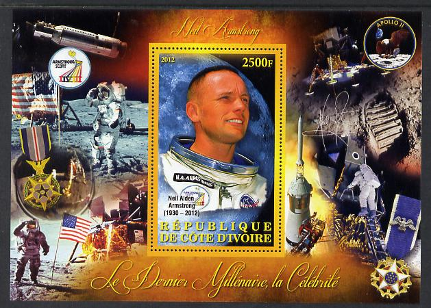 Ivory Coast 2012 Personalities of the Last Millennium #07 perf sheetlet containing 1 value unmounted mint (Neil Armstrong)