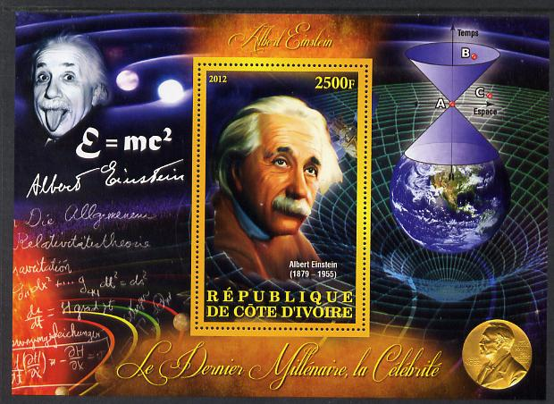 Ivory Coast 2012 Personalities of the Last Millennium #08 perf sheetlet containing 1 value unmounted mint (Albert Einstein)