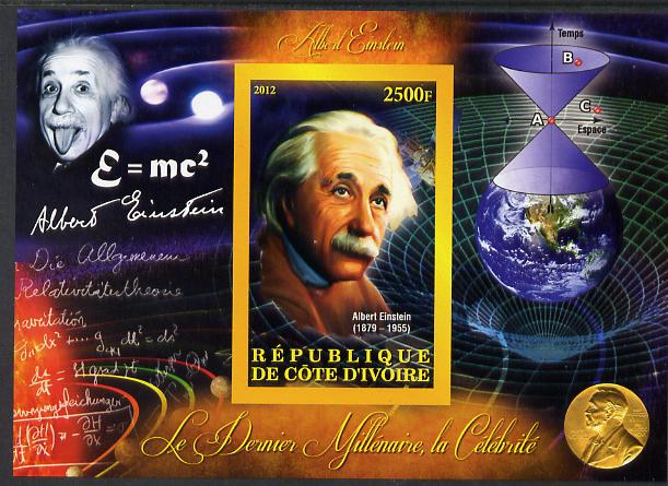 Ivory Coast 2012 Personalities of the Last Millennium #08 imperf sheetlet containing 1 value unmounted mint (Albert Einstein)