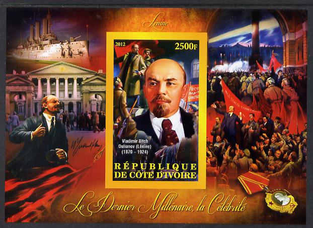 Ivory Coast 2012 Personalities of the Last Millennium #11 imperf sheetlet containing 1 value unmounted mint (Vladimir Lenin)