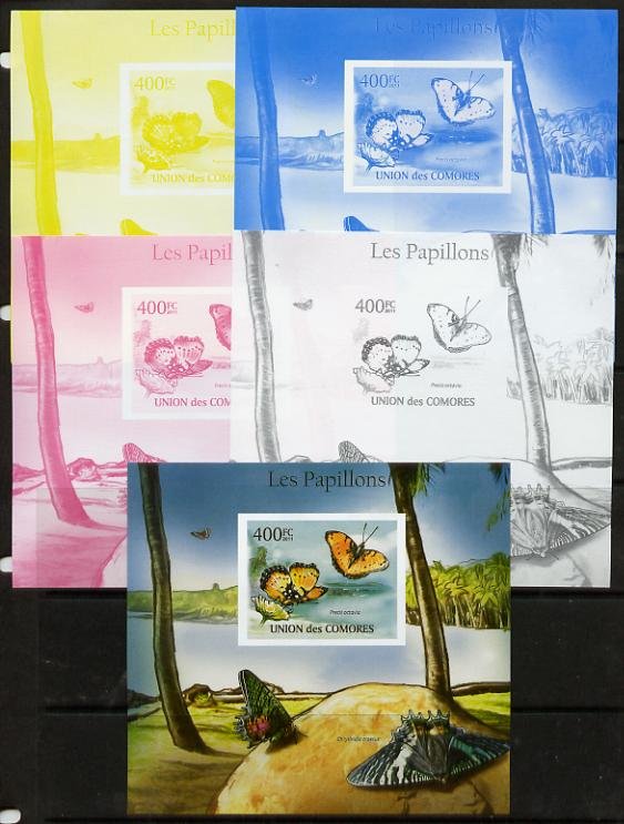 Comoro Islands 2011 Butterflies #5 m/sheet - the set of 5 imperf progressive proofs comprising the 4 individual colours plus all 4-colour composite, unmounted mint