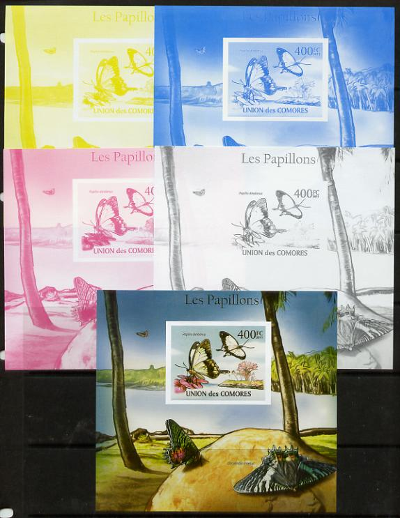 Comoro Islands 2011 Butterflies #6 m/sheet - the set of 5 imperf progressive proofs comprising the 4 individual colours plus all 4-colour composite, unmounted mint