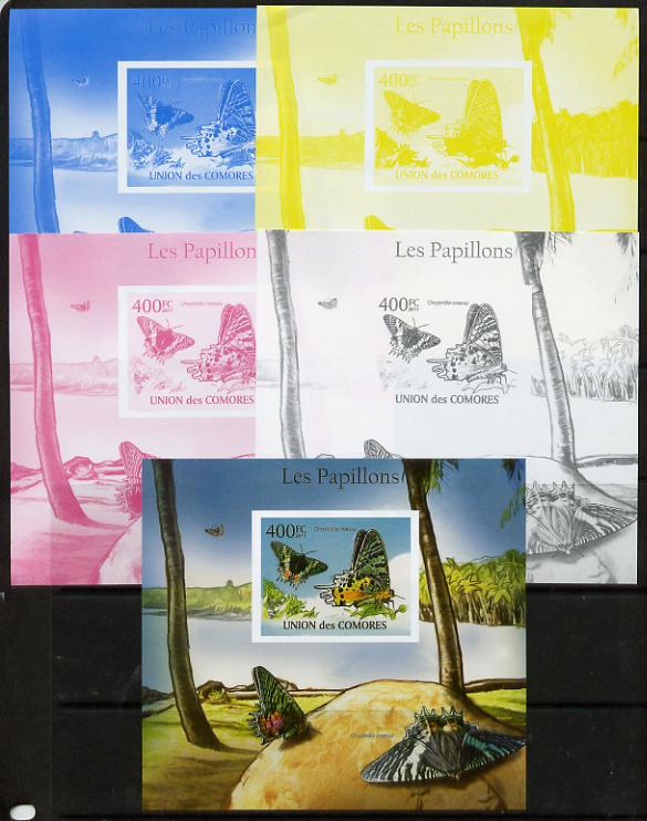 Comoro Islands 2011 Butterflies #7 m/sheet - the set of 5 imperf progressive proofs comprising the 4 individual colours plus all 4-colour composite, unmounted mint