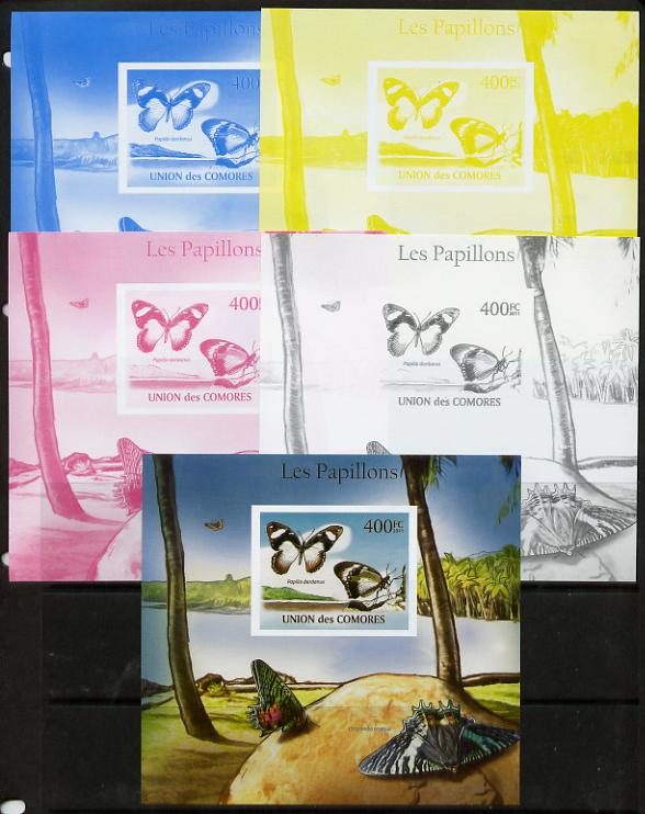 Comoro Islands 2011 Butterflies #9 m/sheet - the set of 5 imperf progressive proofs comprising the 4 individual colours plus all 4-colour composite, unmounted mint