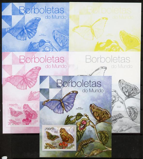 Guinea - Bissau 2012 Butterflies #2 m/sheet - the set of 5 imperf progressive proofs comprising the 4 individual colours plus all 4-colour composite, unmounted mint
