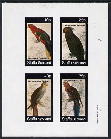 Staffa 1982 Parrots #02 imperf  set of 4 values (10p to 75p) unmounted mint