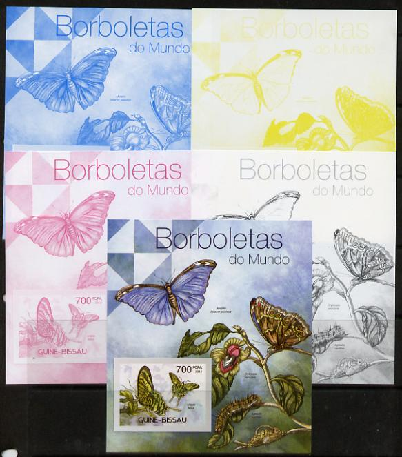 Guinea - Bissau 2012 Butterflies #3 m/sheet - the set of 5 imperf progressive proofs comprising the 4 individual colours plus all 4-colour composite, unmounted mint