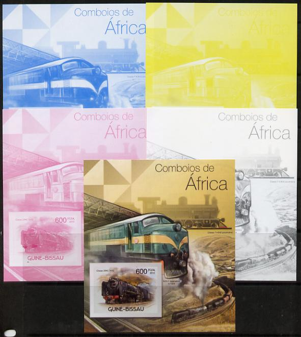 Guinea - Bissau 2012 Railways of Africa #1 m/sheet - the set of 5 imperf progressive proofs comprising the 4 individual colours plus all 4-colour composite, unmounted mint